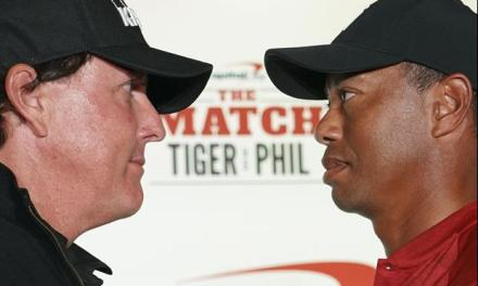 Tiger Woods And Phil Mickelson Do A Stare Down At Their Presser
