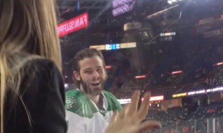 Stars Center Tyler Seguin Tried to Pickup a Woman Sitting Along the Boards by Spilling Her Beer