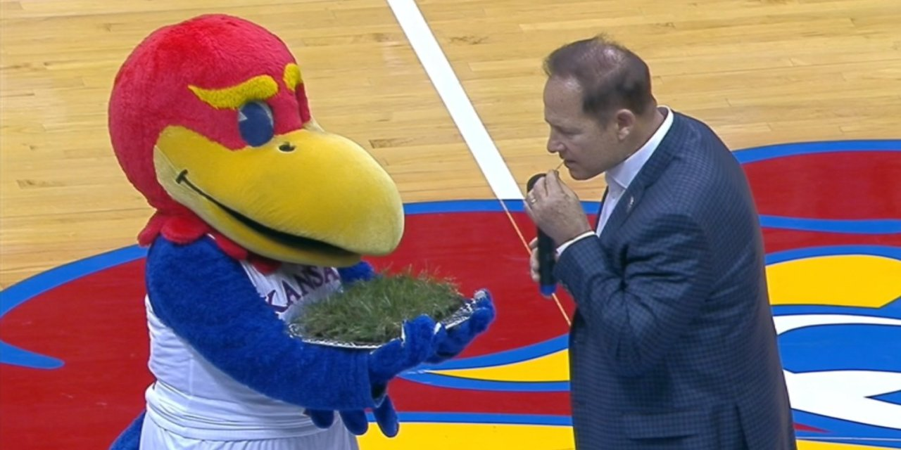 Les Miles Ate Grass at Halftime of a Kansas Basketball Game