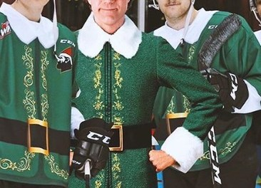 Vancouver Giants Hockey Team Sporting 'Buddy The Elf' Uniforms