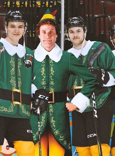 Vancouver Giants Hockey Team Sporting 'Buddy The Elf' Uniforms