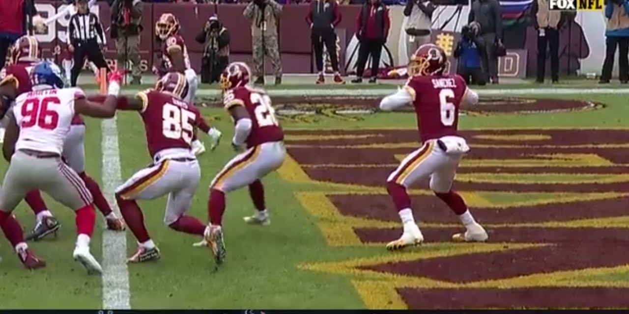 Mark Sanchez Throws a Terrible Pick Six Out of His Own End Zone