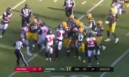 Fight Between the Falcons and Packers after a Hit on a Sliding Aaron Rodgers