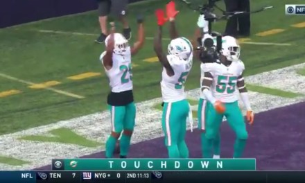 Dolphins Defense Celebrates a Kirk Cousins Pick Six with the Skol Clap