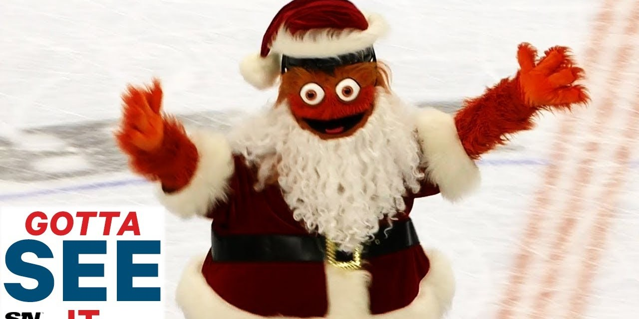 Flyers Mascot Gritty Took out Some Santas on the Ice