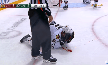 Blackhawks Defenseman Connor Murphy Left Bleeding All Over the Ice After Taking an Elbow to the Face