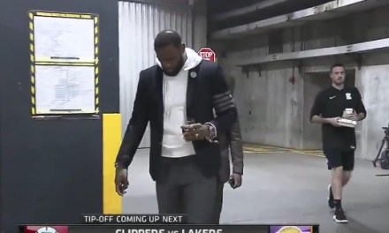 LeBron James Rolls Up At Lakers Game with Glass of Red Wine