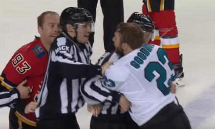 Flames' Sam Bennett Unloads a Brutal Late Hit on Sharks' Radim Simek