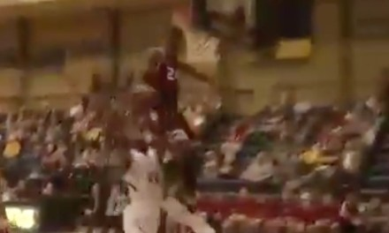 College Hooper Blaise Meredith Smacks Head on Backboard During Epic Block