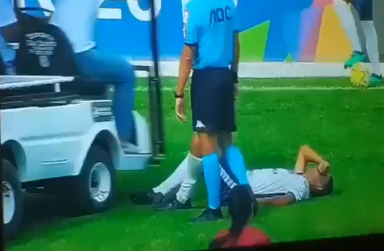 Injured Brazilian Youth Cup Soccer Player Had His Foot Run Over by the Injury Cart