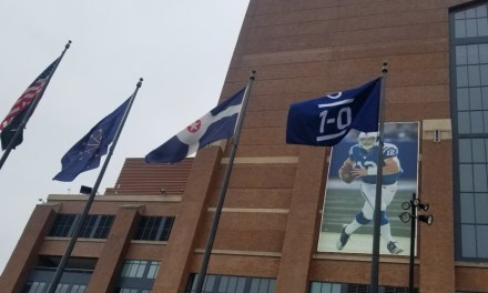 Colts Raise a 1-0 Banner Outside of Lucas Oil Stadium