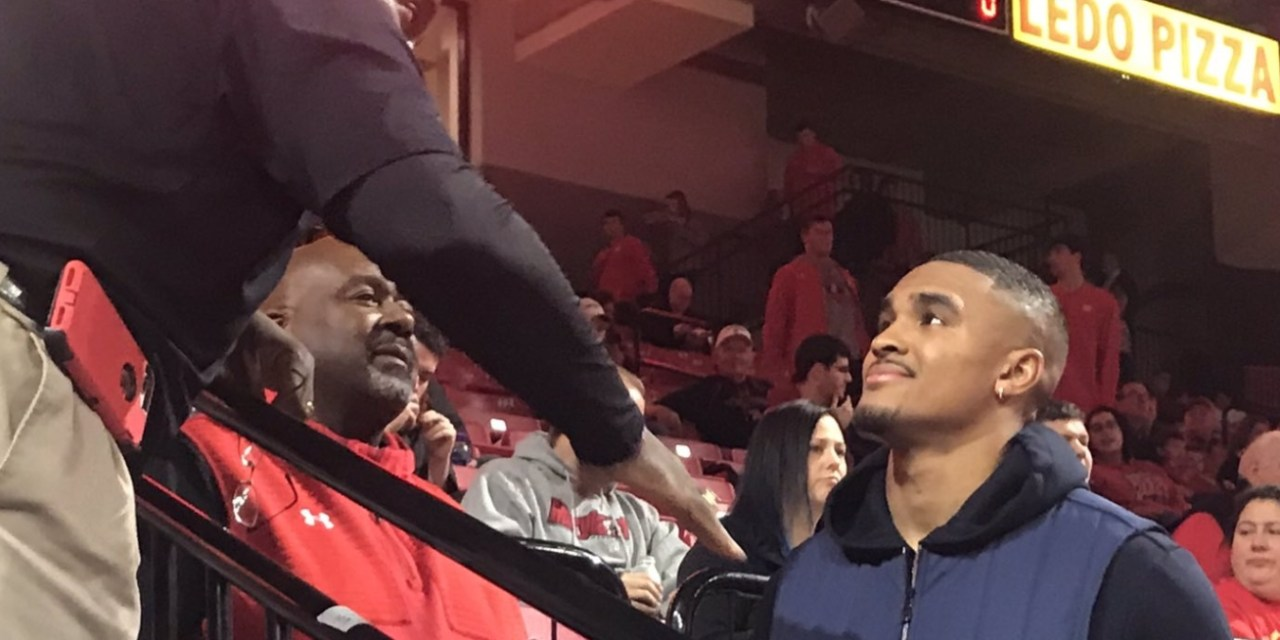 Jalen Hurts Seen at Maryland Basketball Game Hanging Out with Former Alabama Coach Mike Locksley
