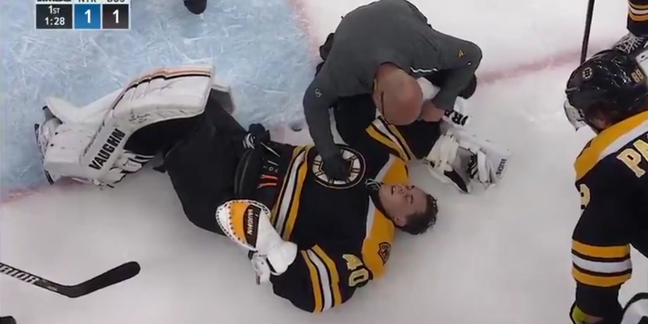 Bruins Goalie Tuukka Rask Forced to Leave Early after Getting Blown Up