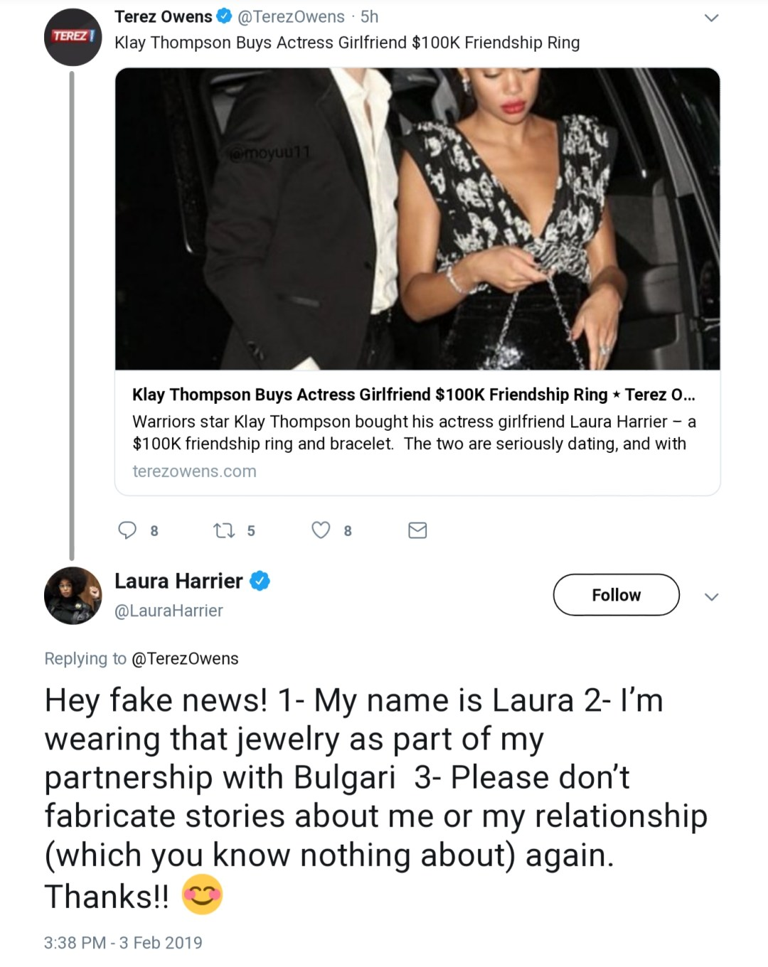 Laura Harrier Calls Fake News on Story About Klay Thompson