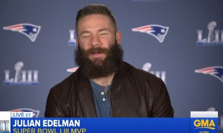 Julian Edelman 'Still Up From Last Night' Has Interview with Michael Strahan