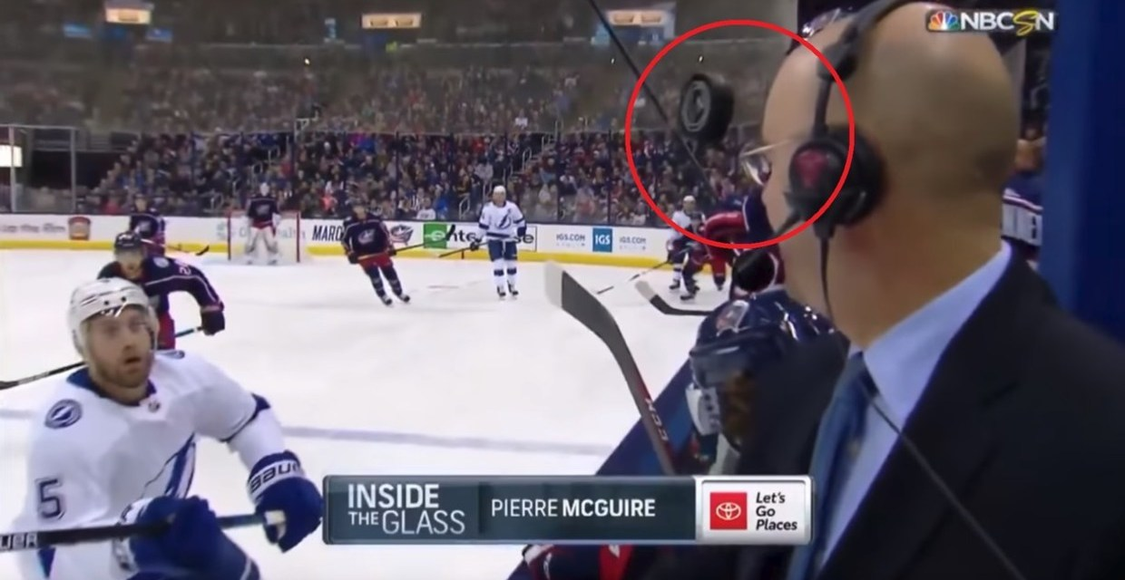 NHL Analyst Pierre McGuire Comes Inches away From Being Smashed in Face by Puck