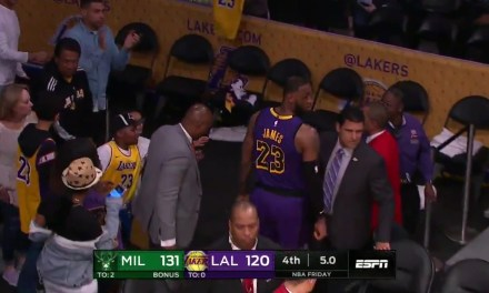 LeBron James Headed to the Locker Room with Five Seconds Left on the Clock