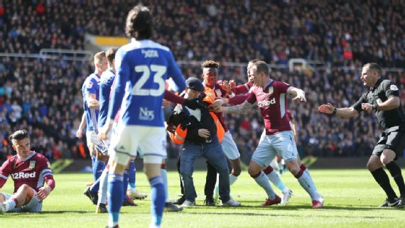 Aston Villa Player Jack Grealish Attacked by fan on the Field in the Back of the Head