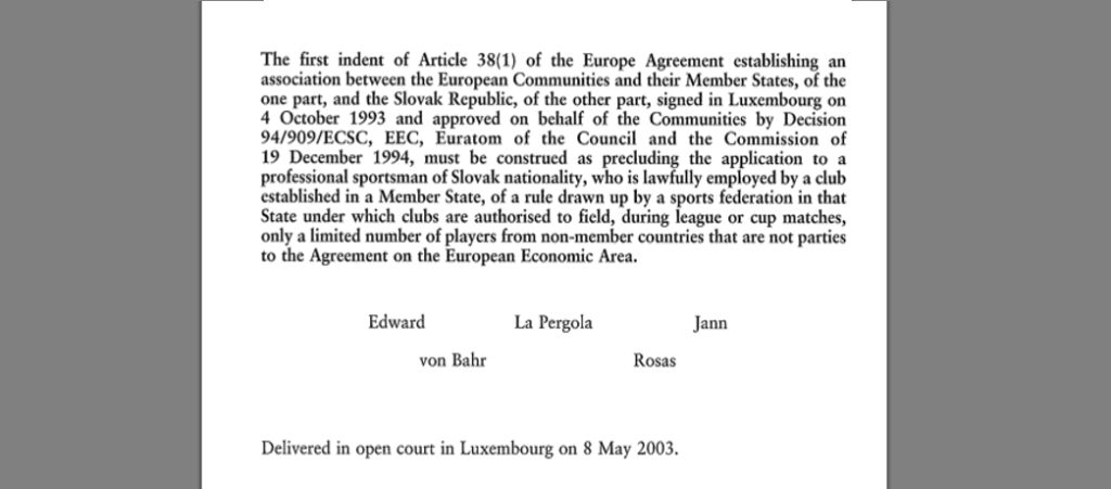 The 2003 Kolpak ruling