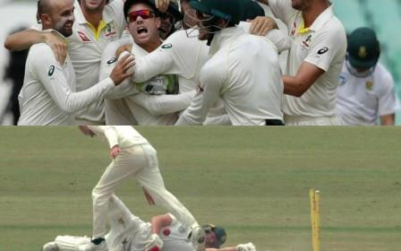 Warner overenthusiastic celebration following the run-out of AB de Villiers