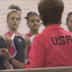 Rare US gymnasts training video