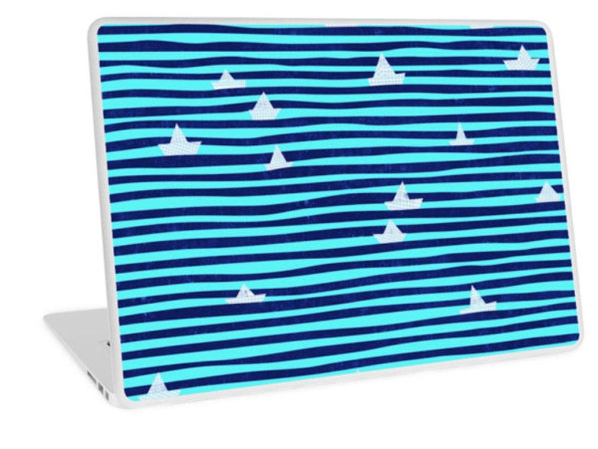 RedBubble-Origami-Boat-on-the-Sea-laptop-skin