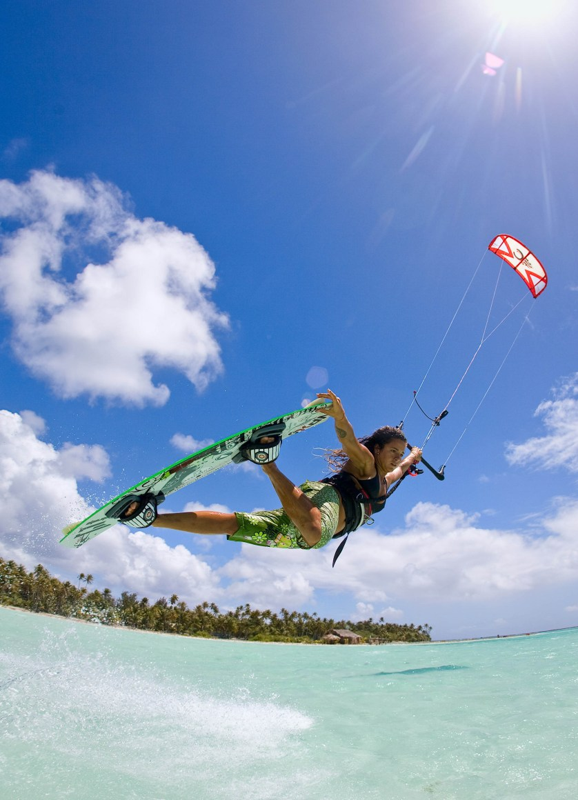 Clarissa Hempel Kiteboarding in French Polynesia by Jody MacDonald