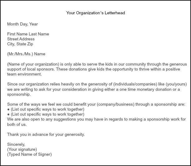 Select Baseball Sponsorship Letter | Docoments Ojazlink