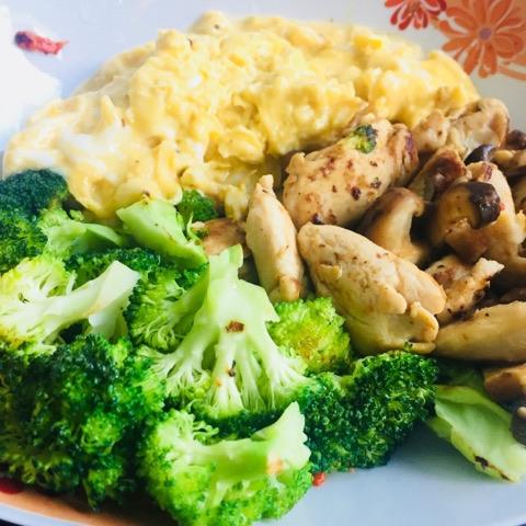 broc mushroom chicken eggs