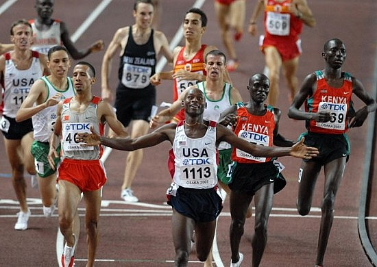 1 500 m final at the World Championship Athletics 2007 in Osaka. Tarek Boukensa, Rashid Ramzi, Bernard Lagat, Antar Zerguelaine, Shedrack Kibet Korir, Asbel Kiprop. Photo by Erik van Leeuwen.