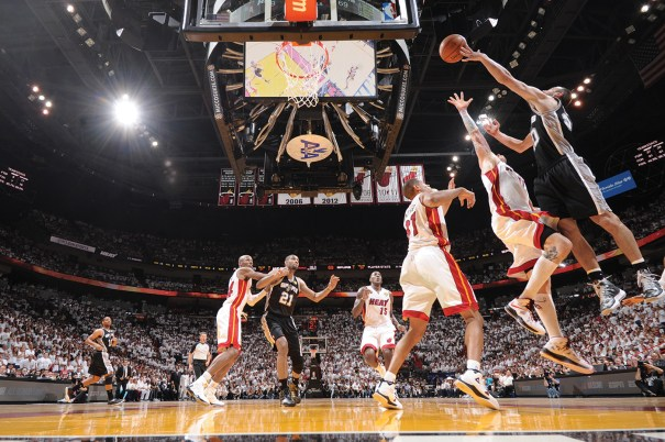 The 2013 NBA Finals between the Miami Heat and the  San Antonio Spurs ended in Miami and included one of the largest television audiences for a Finals game in years. Photo Courtesy of Andrew D. Bernstein/NBAE via Getty Images