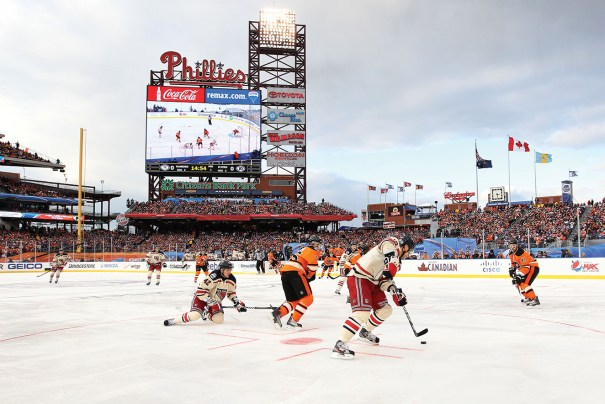 The last Winter Classic was staged January 2, 2012, at Philadelphia's Citizens Bank Park. The New York Rangers defeated the Philadelphia Flyers 3-2. Photo courtesy of Bruce Bennett/Getty Images