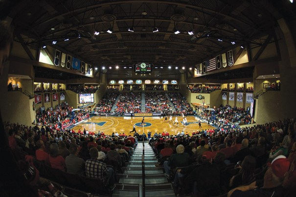 Heritage Court, part of the Sanford Pentagon in Sioux Falls, South Dakota, hosts a variety of events, including NBA D-League and University of South Dakota games. Photo courtesy of Brace Hemmelgarn/USA Today Sports