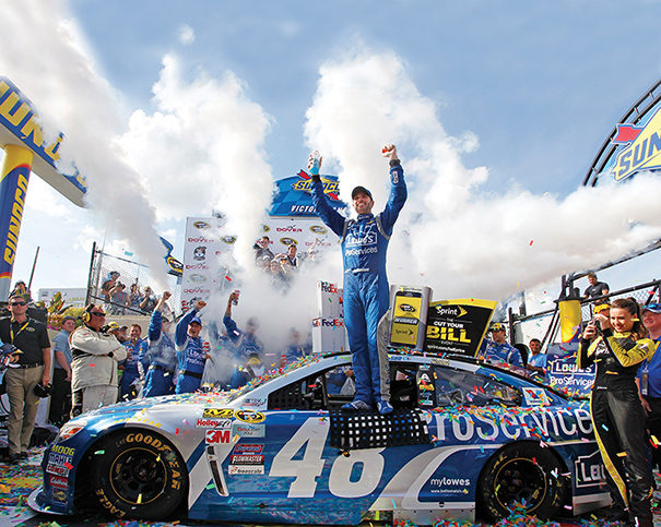 NASCAR driver Jimmie Johnson won the FedEx 400 benefiting Autism Speaks, which was staged in May at Dover International Speedway in Dover, Delaware. Photo courtesy of ASP/Cal Sport Media/Zumapress.com.