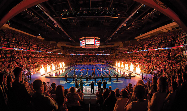 The U.S. Olympic Swim Trials were staged in Omaha, Nebraska, in 2008 and 2012 in temporary pools constructed in CenturyLink Center. The event will return in 2016. Photo courtesy of Omaha CVB
