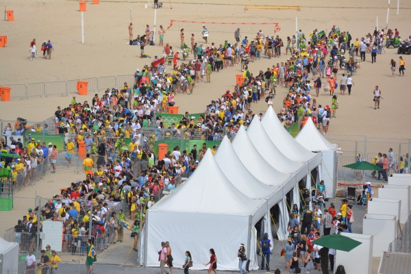 Security lines have been long for beach volleyball.
