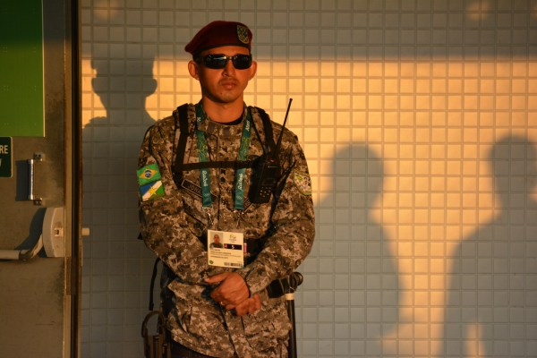 A soldier stands in the Maracana concourse area during the Opening Ceremony.