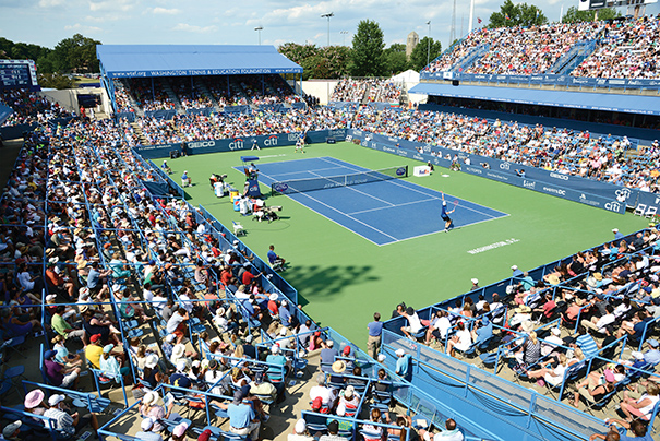 The Citi Open tennis tournament is held annually each summer in Washington, D.C., at the Rock Creek Park Tennis Center, which seats 7,500 and has 31 air-conditioned suites. Photo courtesy of Events DC