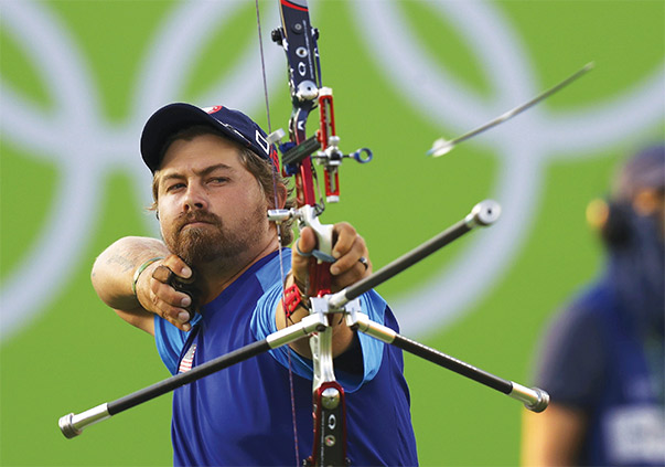 Brady Ellison is one of the stars of the U.S. Archery Team. At the 2016 Olympic Summer Games in Rio de Janeiro, Ellison won an individual bronze medal and was a member of the U.S. team that captured silver. Photo courtesy of Leonhard Foeger/Reuters via Zumapress