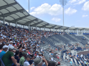 """Fans on the Grandstand court were able to find shade on days when the """"extreme heat policy"""" was in effect."""