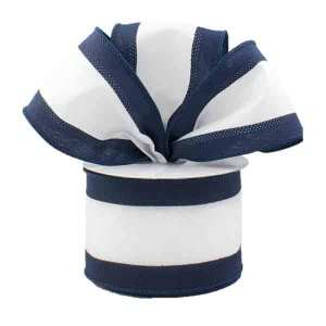 Navy and White Stripe Ribbon