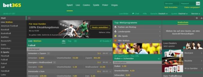 screenshot der bet365-startseite