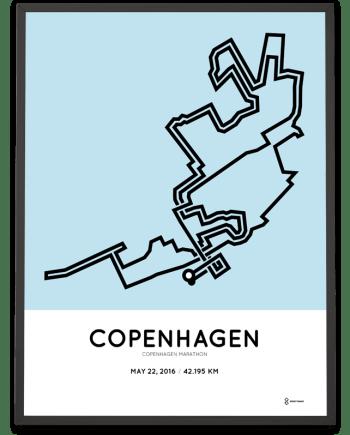 2016 Copenhagen marathon course art poster