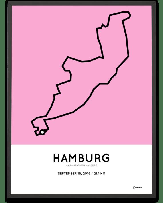 2016 Halbmarathon Hamburg course poster