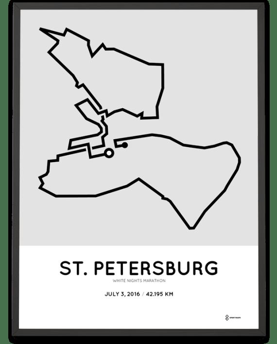 2016 St. Petersburg marathon course poster