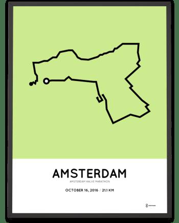 2016 amsterdam halve marathon route prints