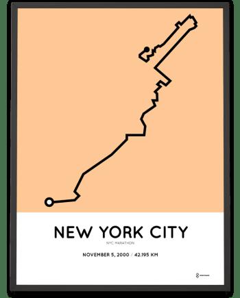 2000 NYC marathon course poster