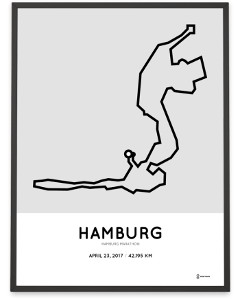 2017 Hamburg marathon course art print