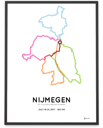 2017 Four Days Marches Nijmegen 160km course poster