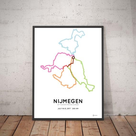 2017 Nijmegen Vierdaagse 200km parcours poster